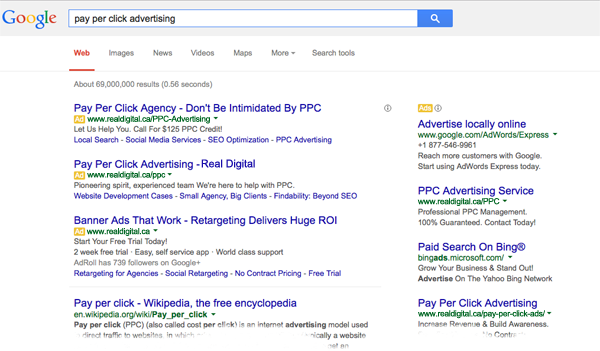 pay per click advertising (PPC) search results